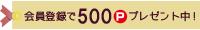 会員登録で500Pプレゼント中!